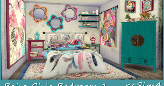 Boho Chic Bedroom 1. Sims 4 Custom Content.