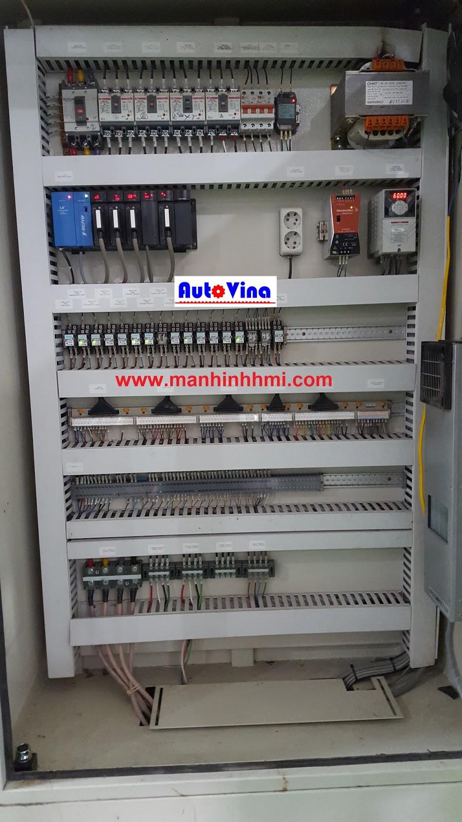 Màn hình M2I kết nối PLC LS K3P-07BS trong tủ điện qua chuẩn C-Net