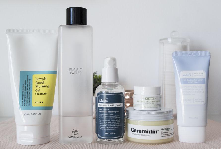 Productos rutina de cuidado facial mañana