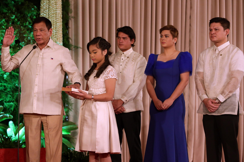 Duterte taking his oath as 16th president of the republic
