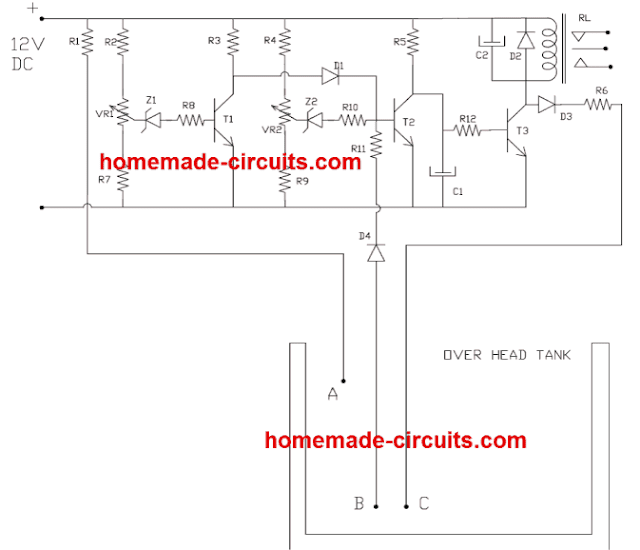 transistorized simple water level controller circuit