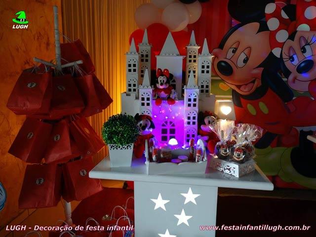 Decoração festa de aniversário infantil da Minnie vermelha - Mesa temática
