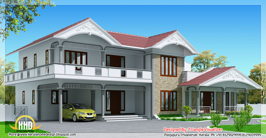 2990 sloped roof house in kerala style kerala for Sloped roof house plans in india