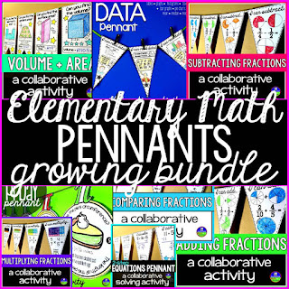 Elementary Math Pennants Growing Bundle
