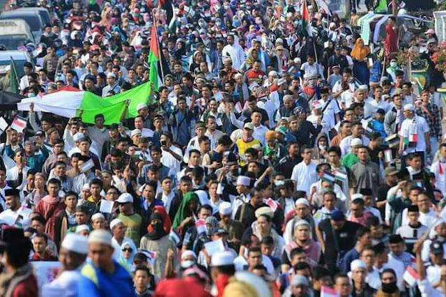 Ribuan Massa Ormas Islam di Medan Adakan Aksi Bela Al-Aqsho