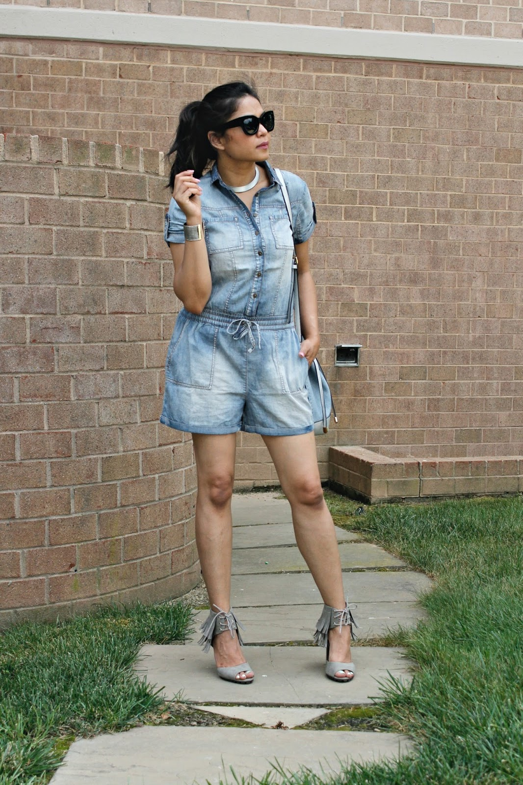 5ca4eb3edf1 I have a handful of denim rompers and jumpsuits in different styles and  dyes and really can t wait to show you my favorite denim culotte jumpsuit.