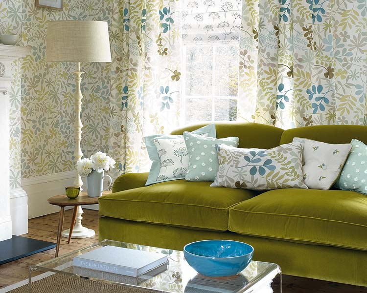 Dwellers without decorators matching curtains and wallpaper instant drama for Living room curtains and matching cushions