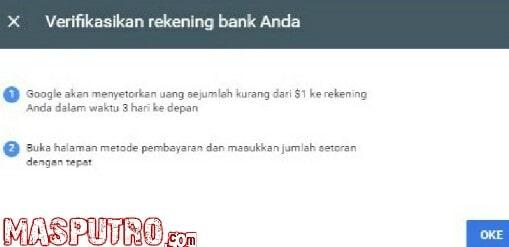 Cara Verifikasi Rekening Bank Untuk Pembayaran Adsense