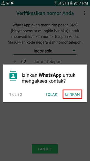 Izinkan WhatsApp untuk mengakses kontak?