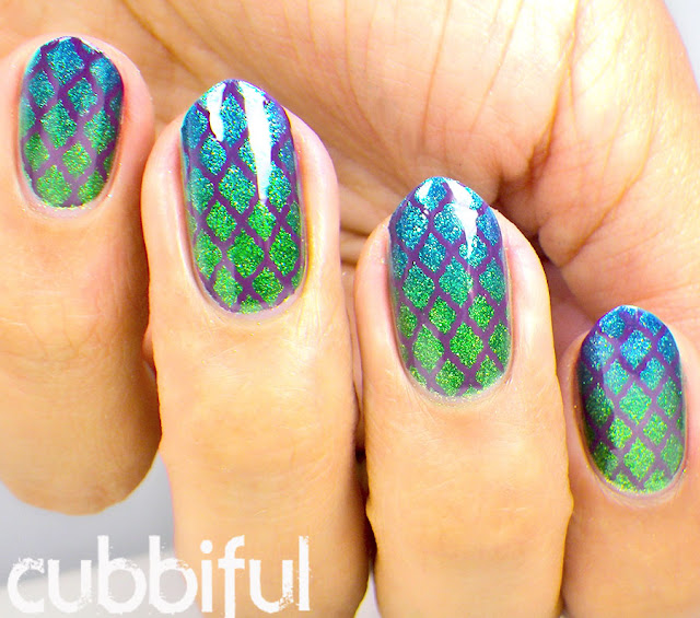 Mermaid Stamping Nail Art