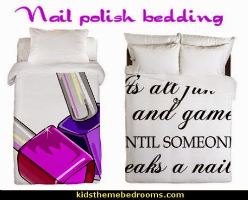Nail Polish Twin Duvet  -   IT'S ALL FUN AND GAMES Queen Duvet