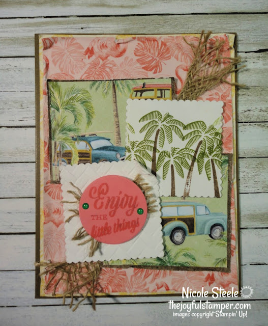 friend like you stampin up tropical oasis burlap coastal weave 3D embossing folder retro handmade card