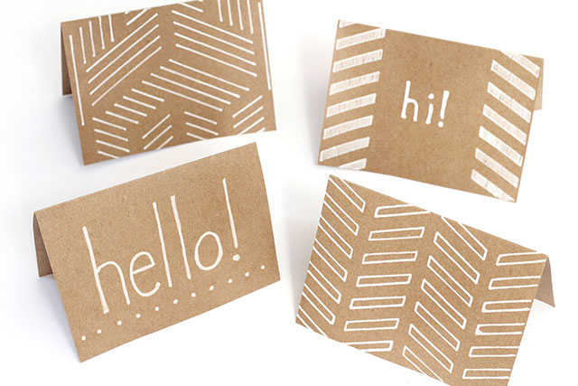 Happy little brown paper notecards - DIY