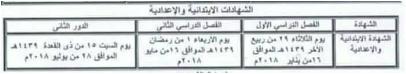جدول مواعيد إمتحانات الشهادة الشهادة الابتدائية والاعدادية الأزهرية 2017/2018 الترم الاول