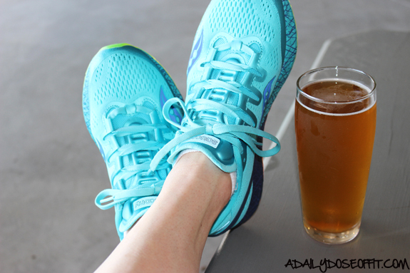 Saucony, running shoes, cold beer, Watermark Brewing Co