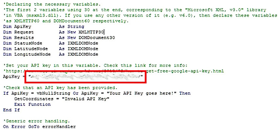 Using The API Key In VBA