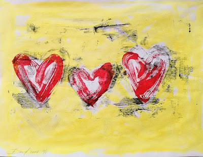 Monotypie Bild von Olga David drei Herzen