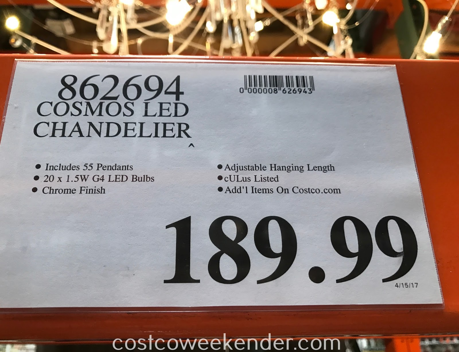 Deal for the Artika Cosmos LED Chandelier at Costco