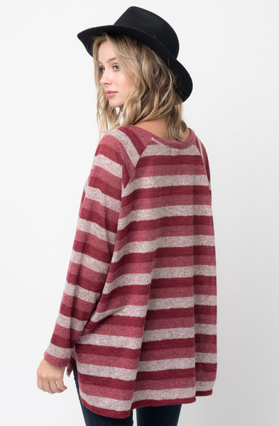 Shop for burgundy Hi Lo Long Sleeve Dolman Striped Sweater Tunic on Caralase.com