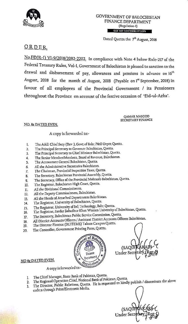 DISBURSEMENT OF PAY AND PENSION IN ADVANCE TO THE EMPLOYEES OF GOVERNMENT OF BALOCHISTAN