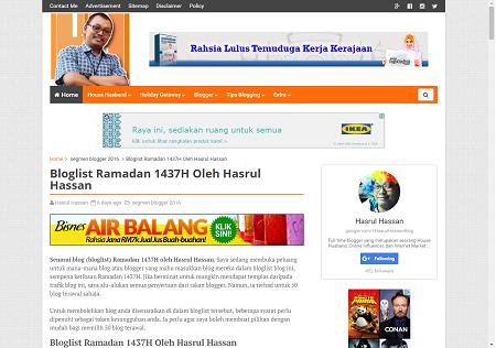 Bloglist Ramadan 1437H Oleh Hasrul Hassan