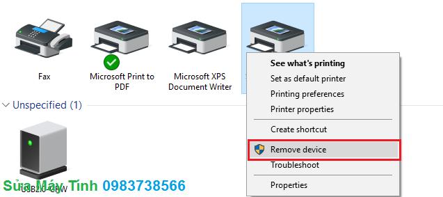 Xóa máy in, cài lại driver cho máy in