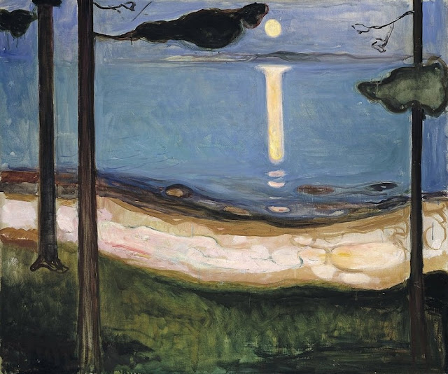 Large semi-abstract landscape painting by Norwegian artist Munch