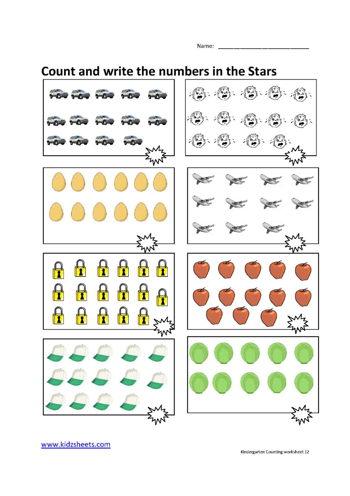 Kidz Worksheets: Kindergarten Counting Worksheet12