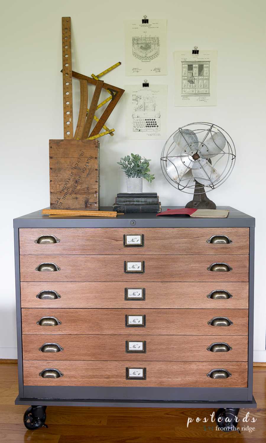 file cabinet with vintage industrial makeover