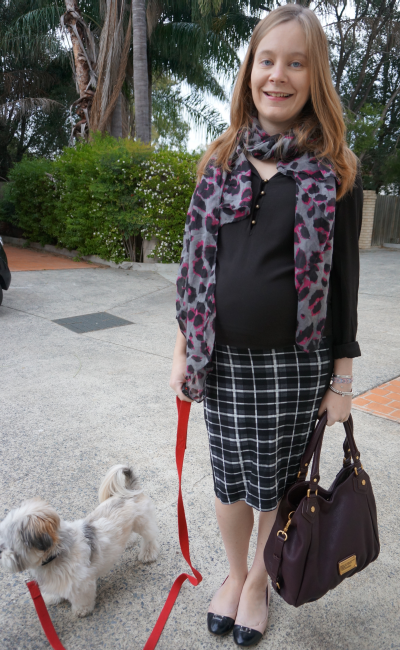 asos tartan checked maternity pencil skirt third trimester leopard print scarf pattern mix