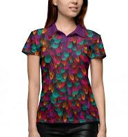 Рубашка поло с разноцветными перьями
