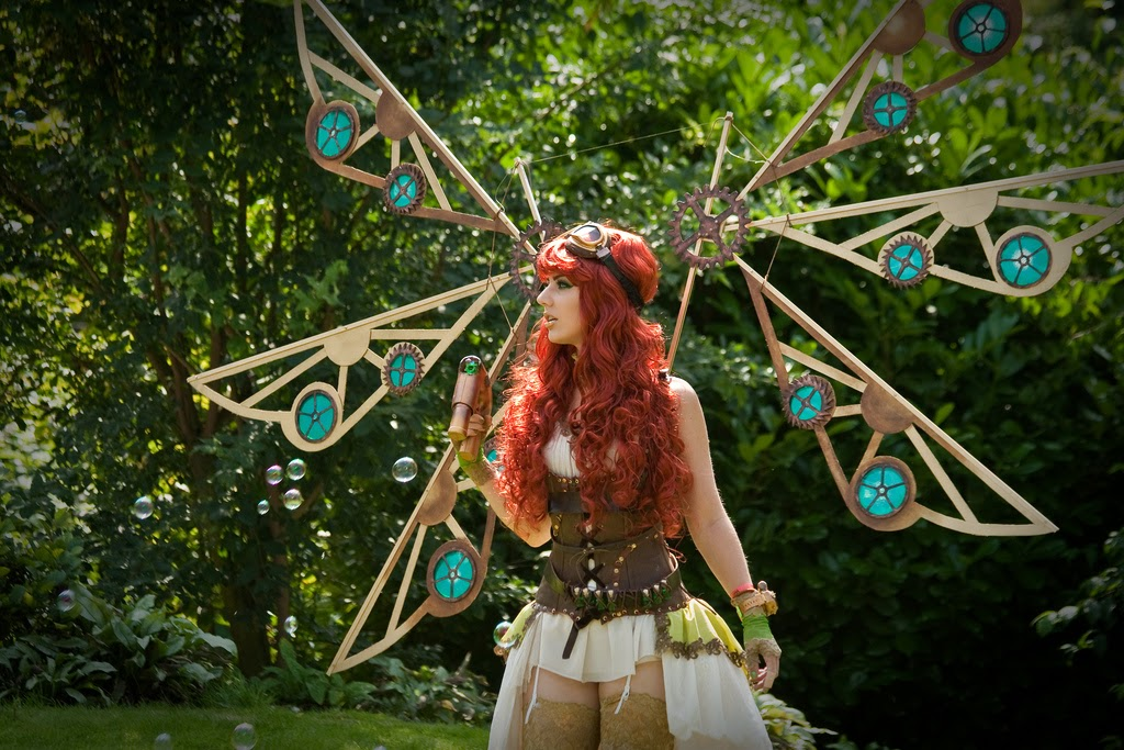 steampunk fairies wings gears goggles stockings costume cosplay