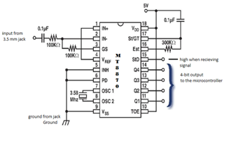 Dtmf Decoder Ic Mt8870 Pin Diagram Carrier Economizer Wiring Mobile Controlled Robot Bluetooth Kishore Punniyamurthy Binary Digits By This Takes Signals As Input And Produces An 4 Bit Output Is Given To Microcontroller