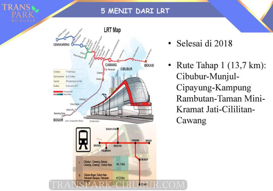 Jalur LRT Cibubur TransPark Apartemen