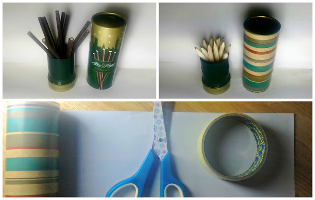 Pictorial instructions for making a pencil pot out of an After Eights tube.