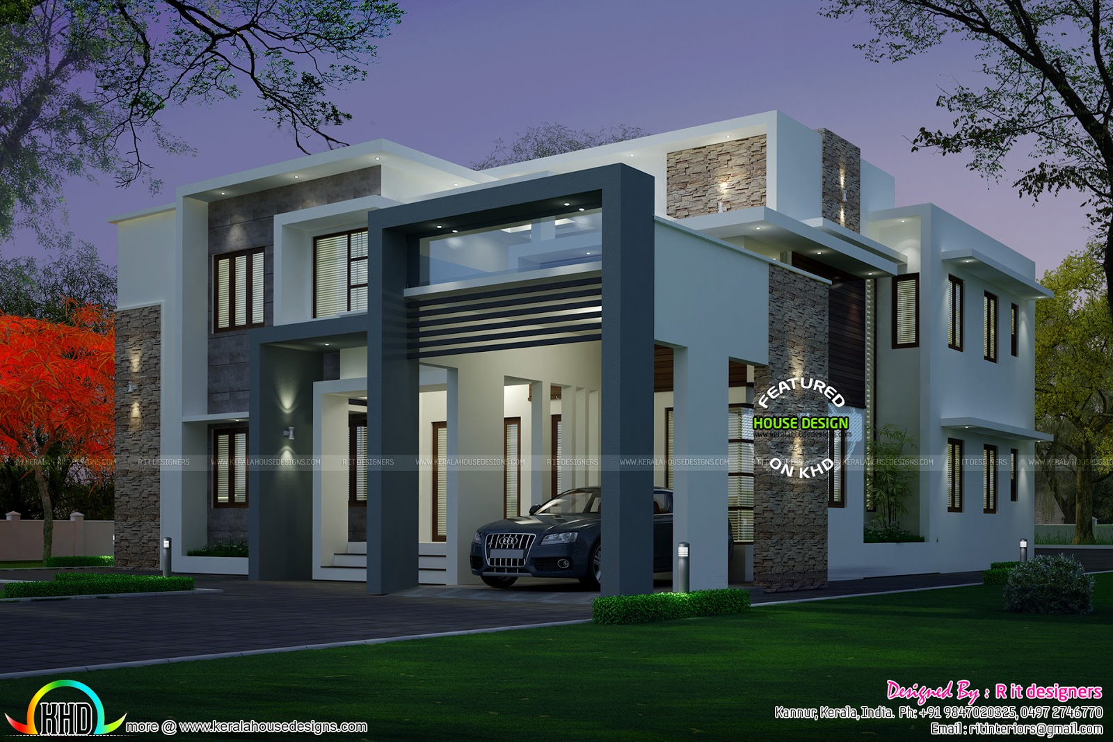 4 bedroom modern house night view and day view kerala for Modern day houses