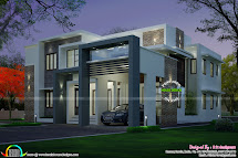 4 Bedroom Modern House Night View And Day - Kerala