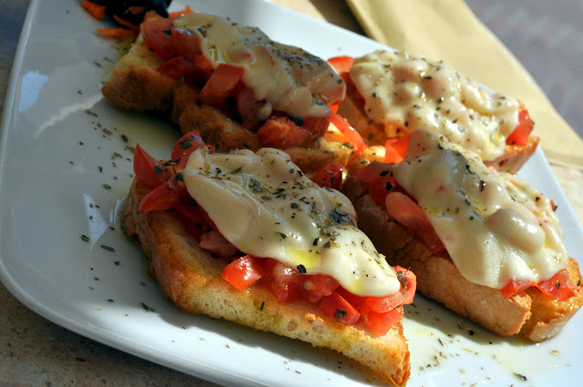 Bruschetta with Fresh Tomatoes and Mozzarella - Caffe delle Erbe - San Gimignano, Italy | Taste As You Go