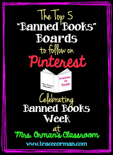 Banned Books Pinboards on Pinterest from Mrs. Orman's Classroom