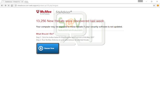 Siteadvisor.com-web.support pop-ups