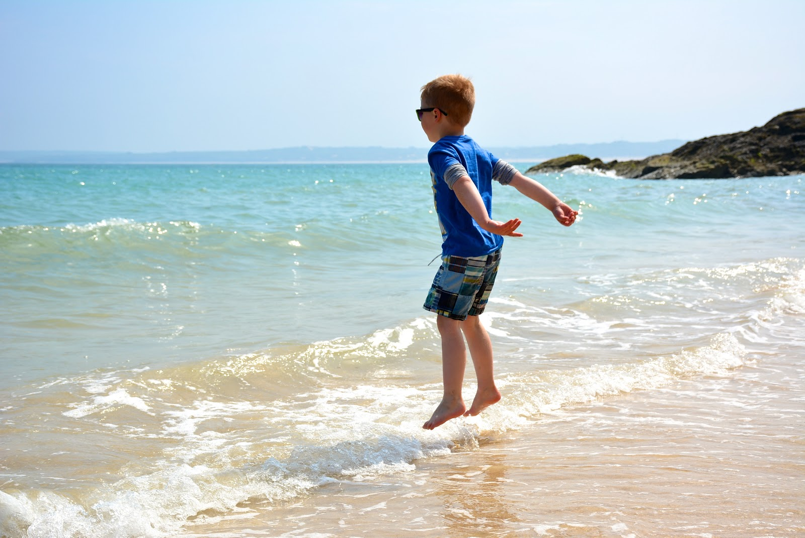 Jackson levitates above the beach in St. Ives, Cornwall