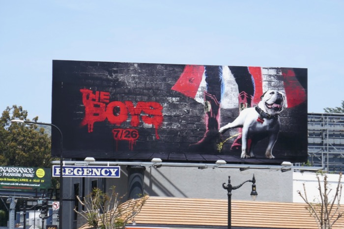 The Boys bulldog peeing billboard