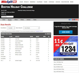 FHS boys results for the Boston Holiday Challenge