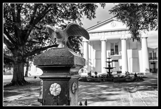 An Eagle the fence at the Old State House Museum In Little Rock, AR.