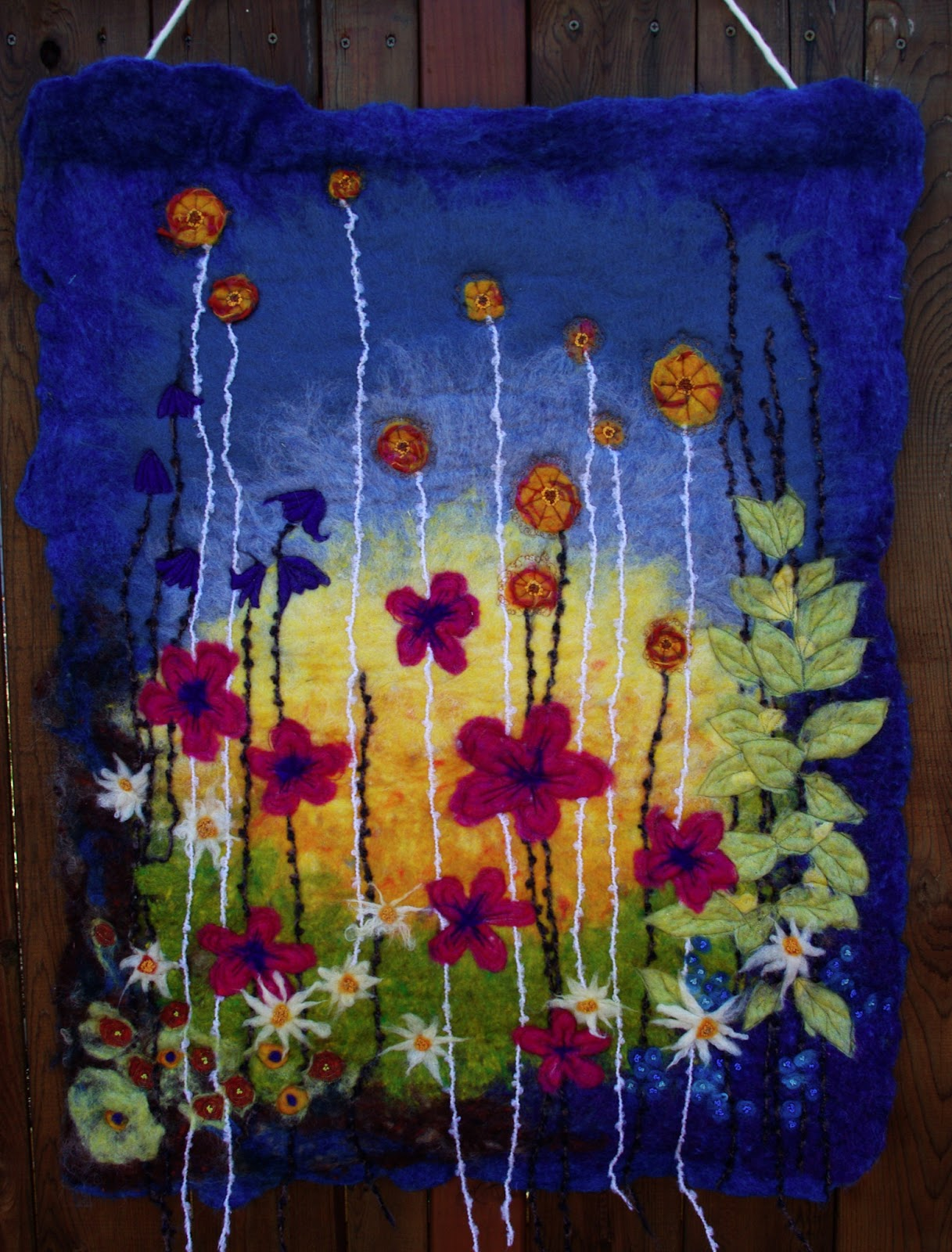 Passengers On A Little Spaceship Felted Wool Wall Hanging