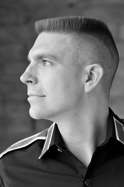 Timothy McGaffin II - Flat Top haircut, CTE, black and white, military, profile, head shot, close up, side view, lighting,