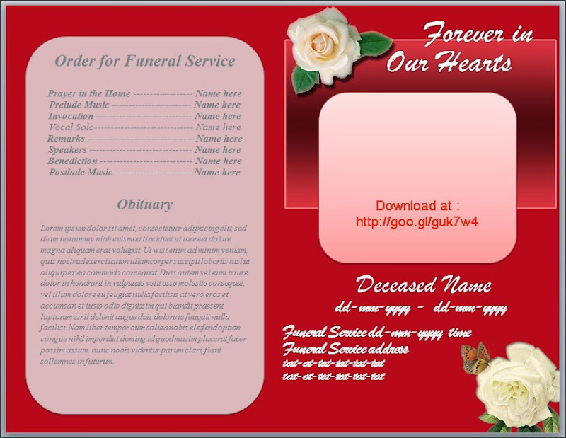 Free Funeral Templates Download 21 funeral bookmark templates – Funeral Template Download