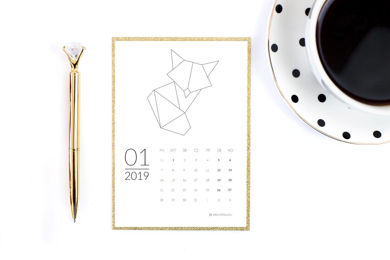 geometryczny kalendarz 2019 do druku do pobrania za darmo