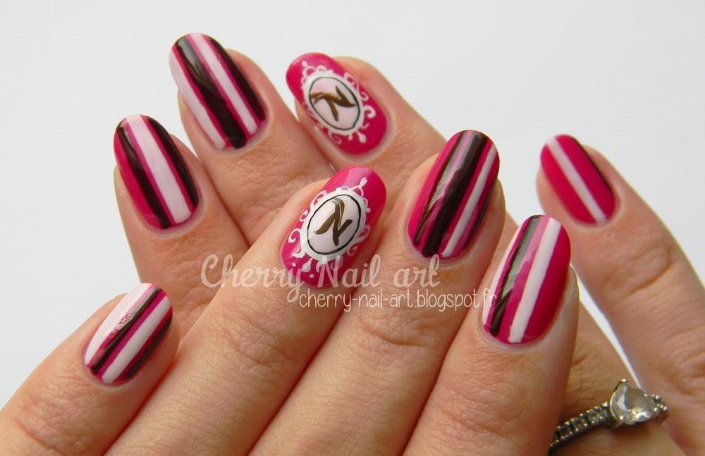 nail art napolitain medaillon et rayures