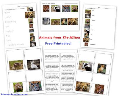http://homeschoolden.com/2016/12/14/the-mitten-free-printable-activities/